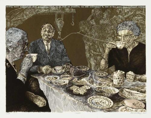 Alice Leora Briggs, Candide, 2007, silkscreen, UALR Permanent Collection; photo courtesy of UALR Art Department