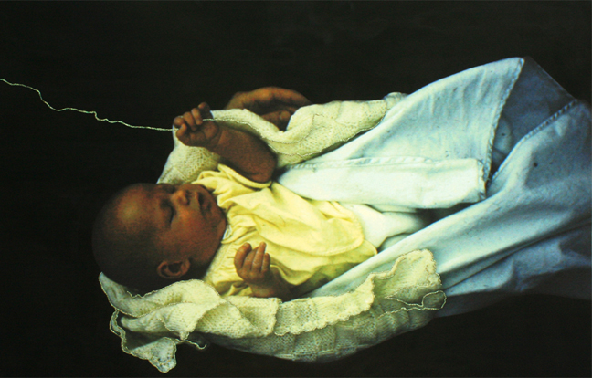 "Kelly Hider, Baby with Gold Thread, 23.5"" x 36"""